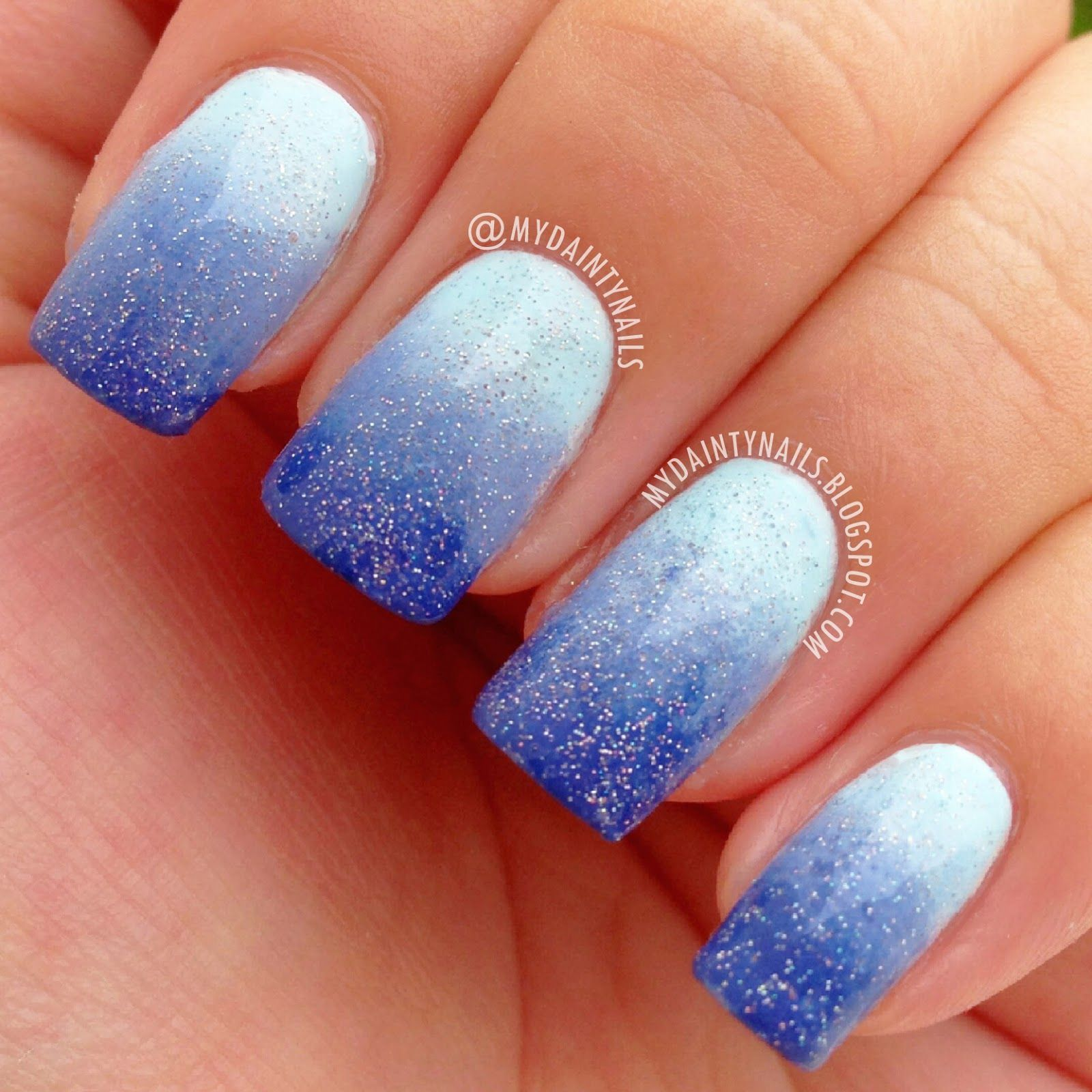 dainty nails: blue gradient/ombre nails | marie's pin picks