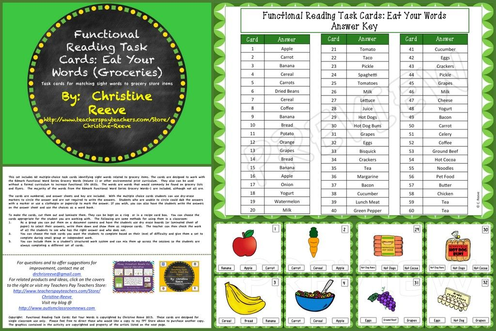Functional Reading Task Cards Eat Your Words Grocery Special – Grocery Words