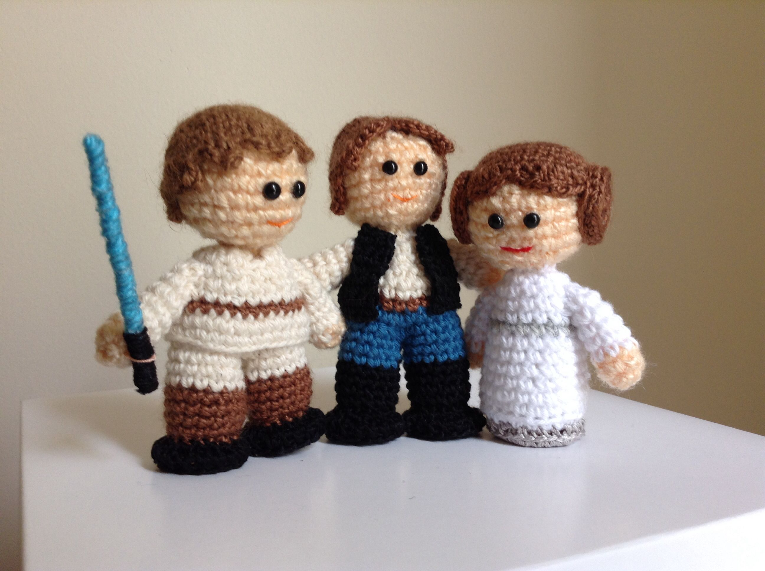 Han solo Leia Luke Skywalker star wars crochet #amigurumi #starwars ...