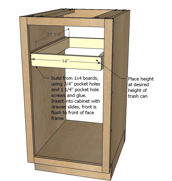 Kitchen Base Cabinet Pull Outs Part - 42: DIY Pull Out Trash Can In A Kitchen Cabinet