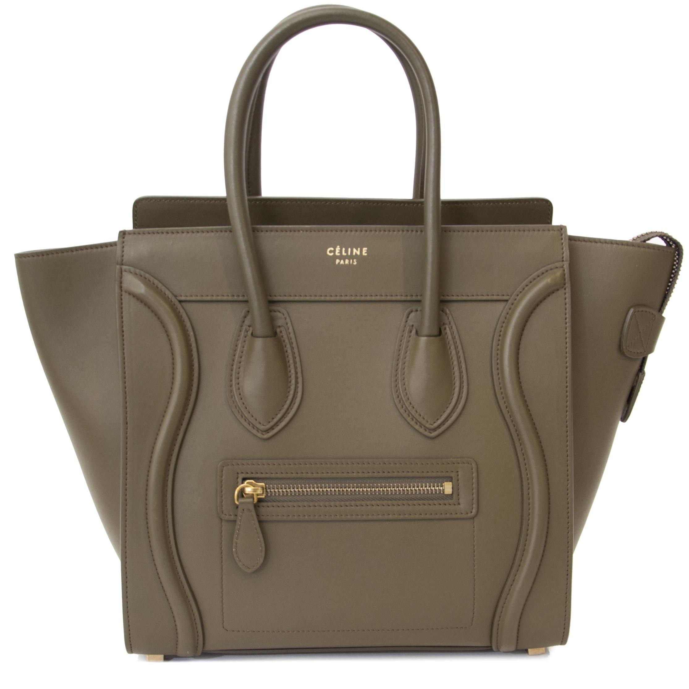 Celine Khaki Luggage Micro Shopper Tote