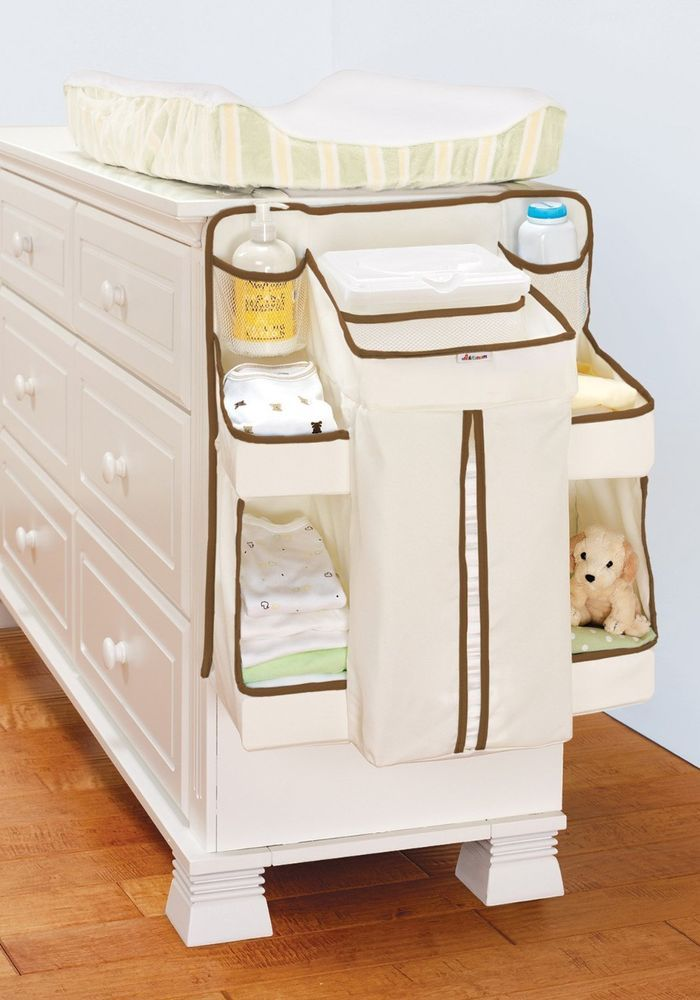 White Diaper Holder Storage Bins Changing Table Closet Organizer Baby Nursery Diapering