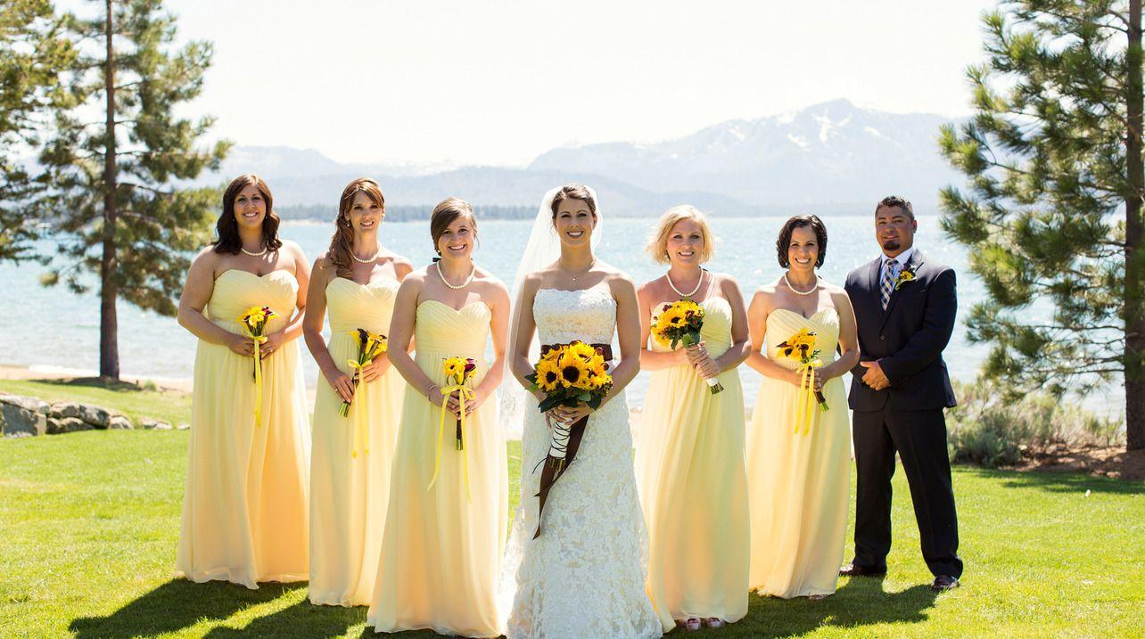 Andrea Joe Weddings In Lake Tahoe Borrowed Blue Pale Yellow Bridesmaid Dresses Pale Bridesmaid Dresses Yellow Bridesmaid Dresses