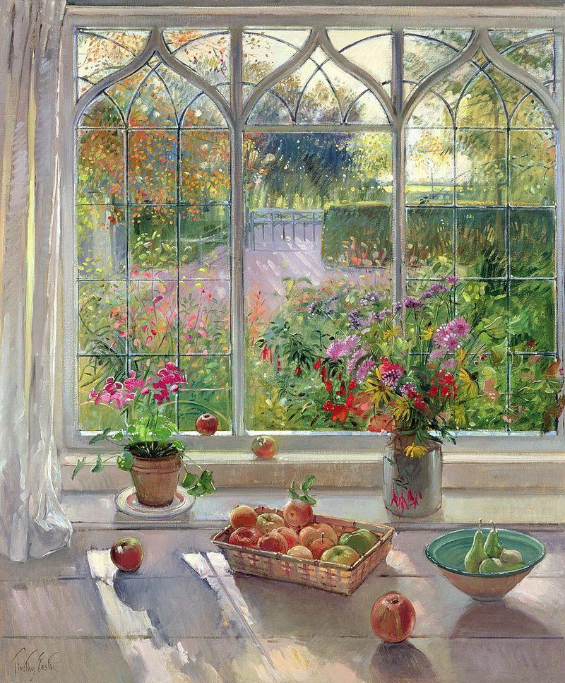 свою картина вид из окна в сад жаркий