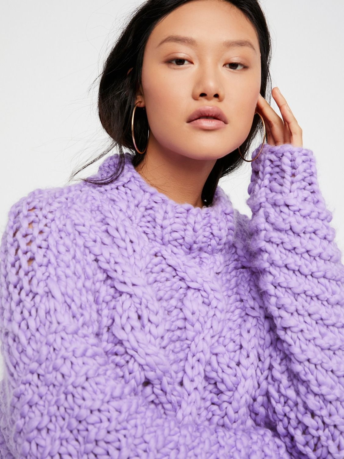 95f19fa381ab Loopy Mango Lilac Cropped Fisherman Sweater at Free People Clothing Boutique