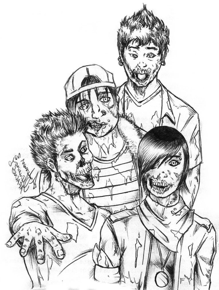 Four Zombie Coloring Page