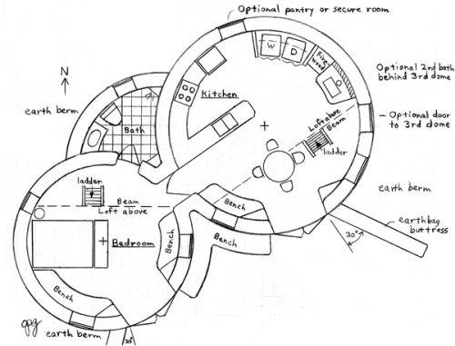 Earthbag Building Enviro Earthbag Dome Plan Cob House Plans Dome House How To Plan