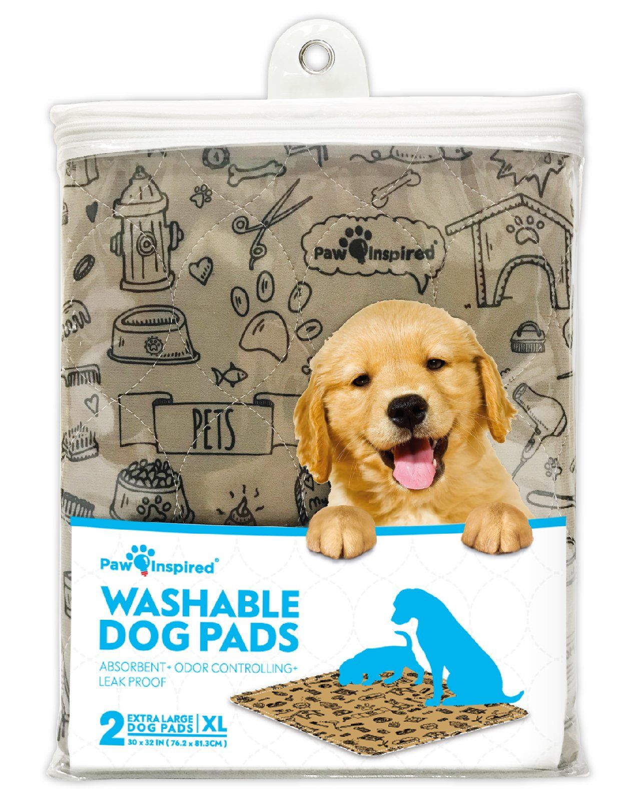 Paw Inspired 2ct Xl Extra Large Washable Pee Pads For Dogs Puppy