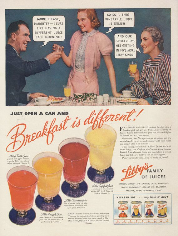 1940 Libby's Fruit Juice Ad Breakfast Drink Kitsch by AdVintageCom