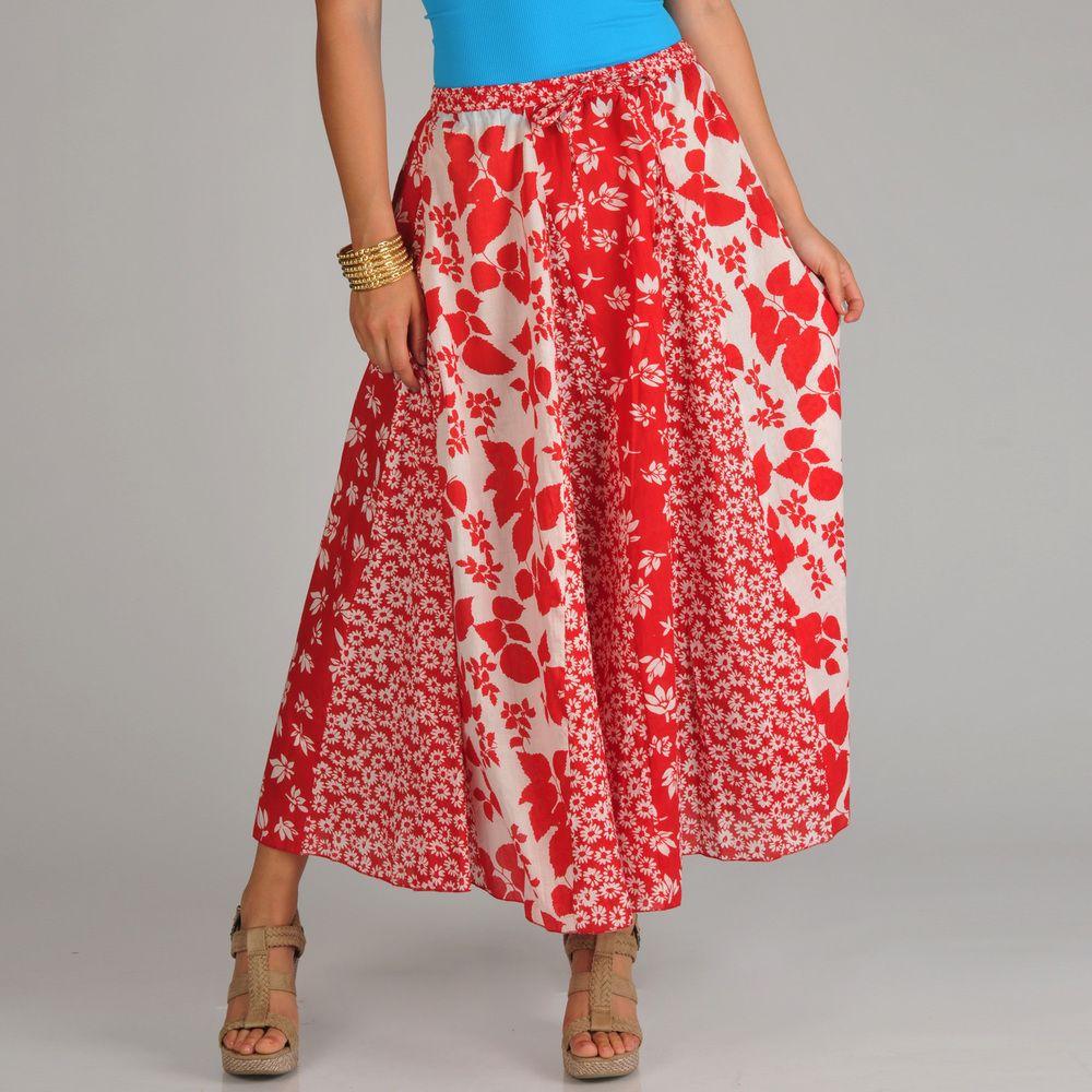 La Cera Women's Red/ White Multi Floral-print Stripwork Swirl Skirt   Overstock™ Shopping - Top Rated La Cera Long Skirts