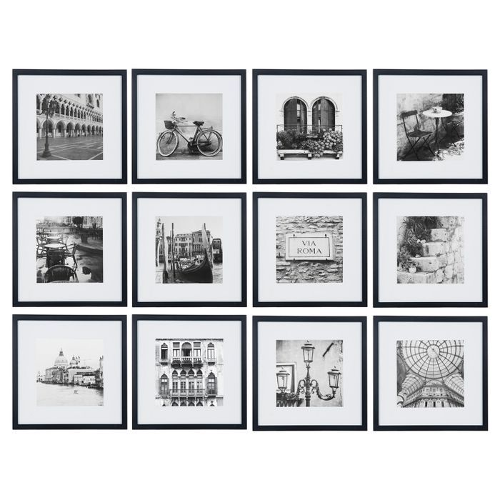 12pc 12 X 12 Black Frame Kit Matted To 7 5 X 7 5 Gallery Perfect Photo Wall Gallery Gallery Wall Frames Frames On Wall