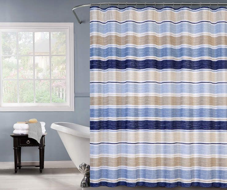 Just Home Blue Tan Stripe Shower Curtain Tan Shower Curtain Striped Shower Curtains Country Bathroom Decor