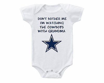 445b36d4f Watching With Grandma Dont Bother Me Dallas Cowboys Baby Onesie or ...
