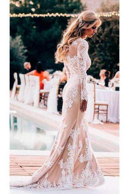 Langarm Rundhals Spitze Applique Brautkleider Vintage Meerjungfrau Hochzeitskleid € 227.48 SAPEEYBL3P #spitzeapplique
