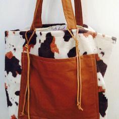 """Grand sac cabas xl pour femme en fourrure motif """"vache"""""""