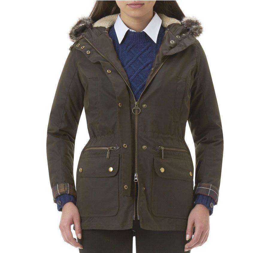 Barbour ladies kelsall waxed jacket shown in olive