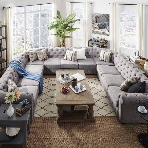 Knightsbridge Tufted Scroll Arm Chesterfield 11 Seat U Shaped Sectional By  INSPIRE Q Artisan By INSPIRE Q