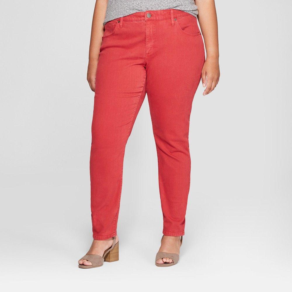 8db60f7464e Women s Plus Size Skinny Jeans - Universal Thread Red 20W