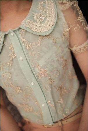 Pearls and embroidery and sheer sleeves... (sigh). ~~ Houston Foodlovers Book Club