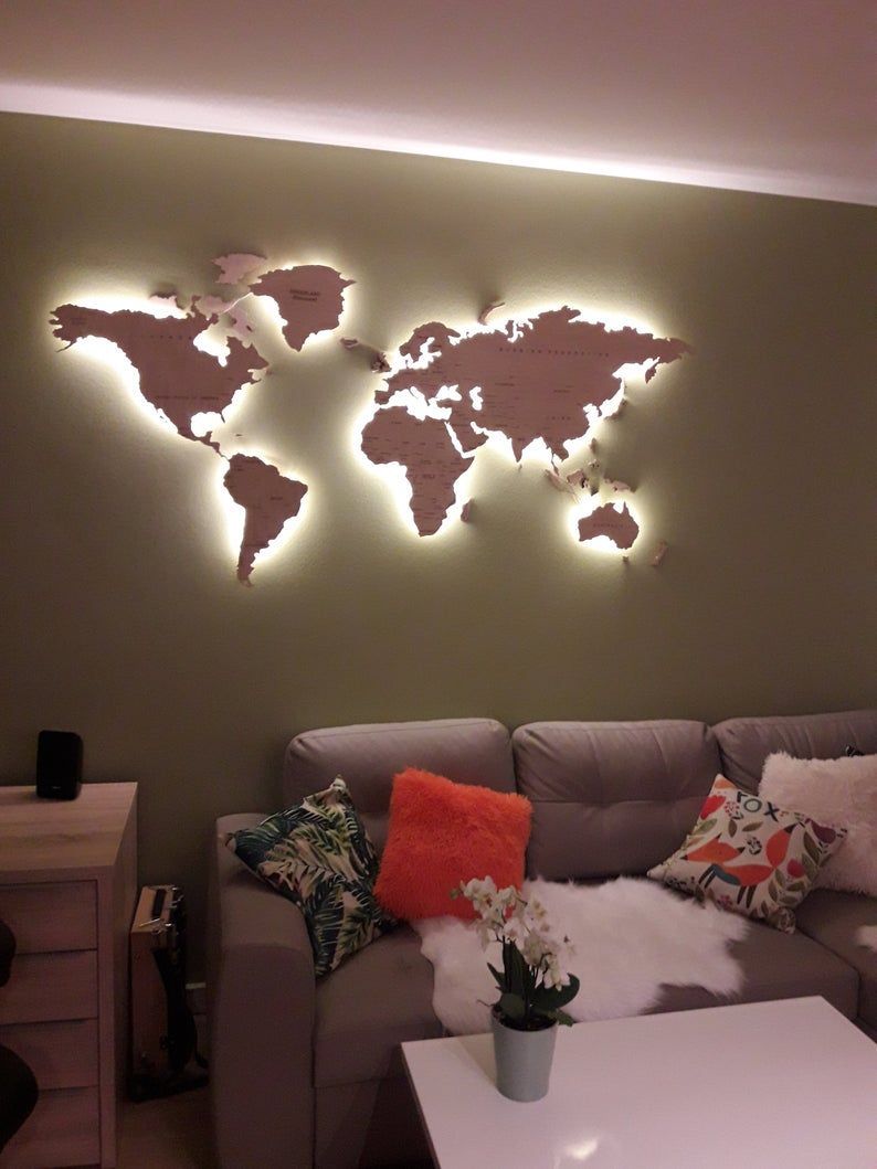 Light Wood Wall Map Of the World Map Wall Art Large Travel LED Map Rustic Home Office Decor 5th Anni
