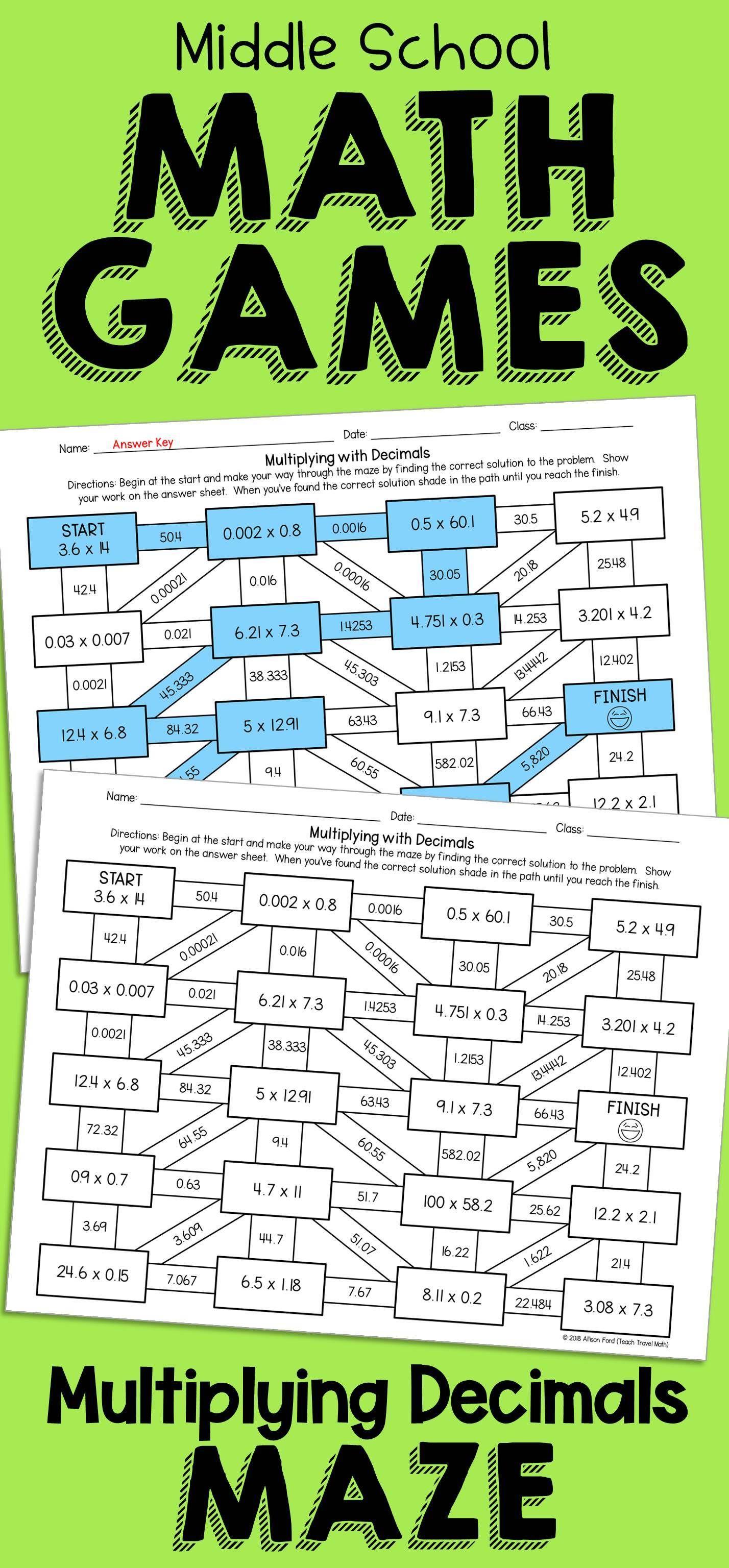 No Prep Worksheet Decimal Maze Practicing Multiplying Decimals Math Games Middle School Decimals Subtracting Decimals