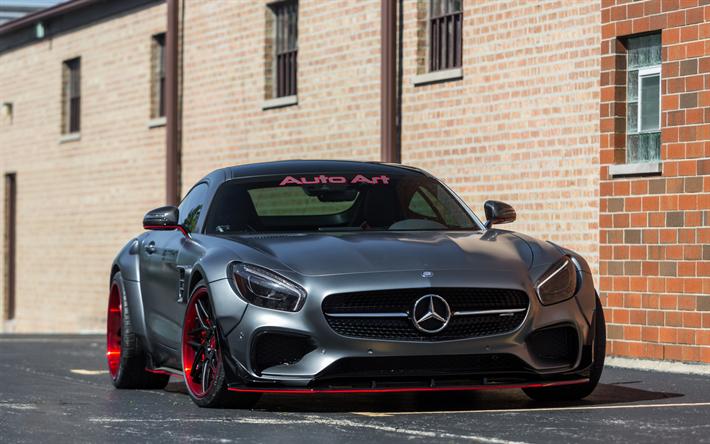 Download Wallpapers Mercedes Gts Amg 2017 Prior Design Red Black Wheels Tuning German Sports Cars Mercedes Besthqwallpapers Com Carros De Luxo Carros Mercedes
