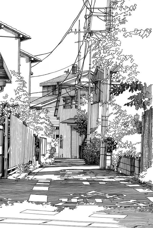 Kiyohiko Azuma Artnau Landschaftsskizze Landschaftszeichnungen Architekturzeichnung