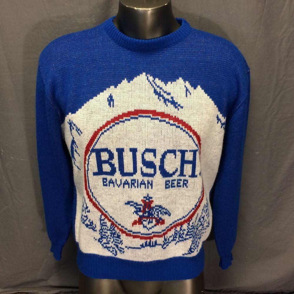 Vintage 60s 70s Busch Beer Employee Worker Crew Sweater Mens M L