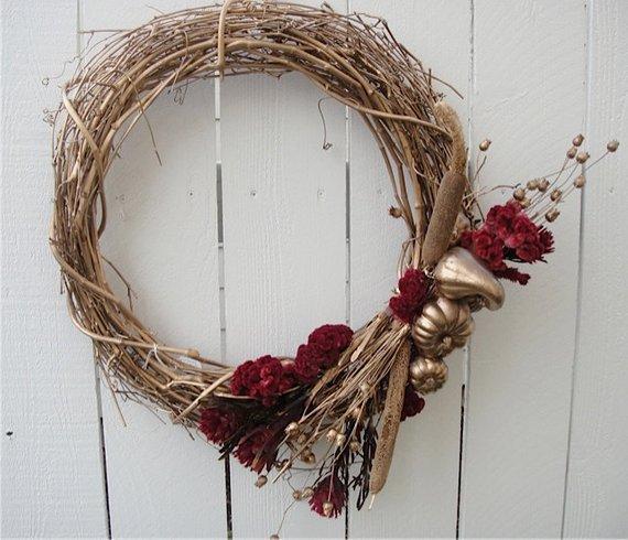 Holiday Wreath Christmas Wreath Autumn Wreath Hand Crafted Wreath