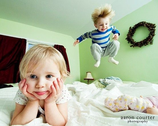 Funny image - kids jumping on bed