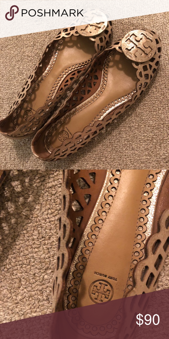 b0859e44ee503 Tory Burch Gold Perforated Flats