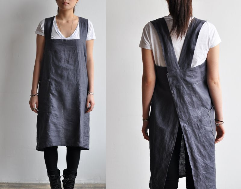 Smock apron in blue, by bookhou at home