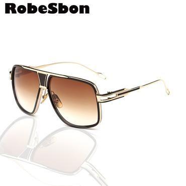 bbc6db1a74afb Luxury Brand Oversized Square Sunglasses Men Retro Sun Glasses Alloy for Women  Vintage Glasses or Lunettes De Soleil Gafas D