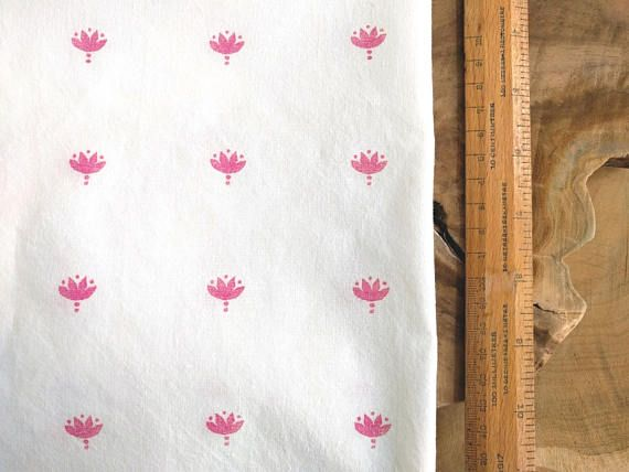 Pink Block Print Fabric Boho Fabric Indian Lotus Hand Block
