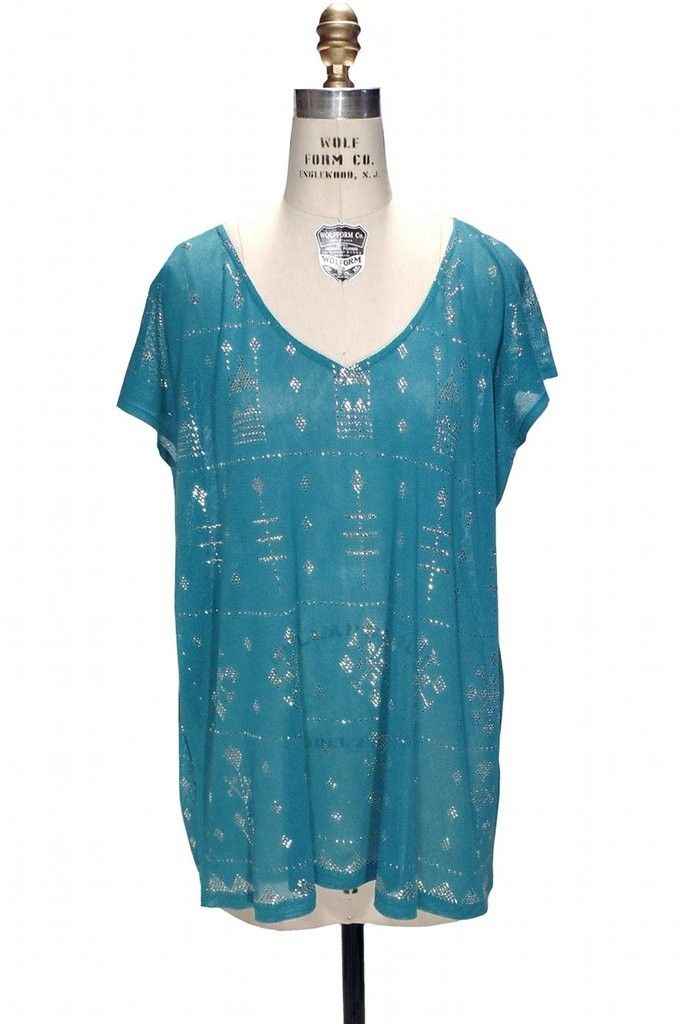 Gatsby Inspired Tunic Dress in Silver/Turquoise | Roaring 20s & Flapper Style Tops | 1920s & Vintage Inspired | The Deco Haus