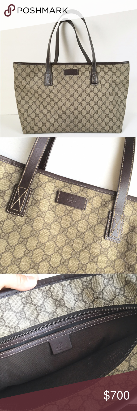 41f850756d1b AUTHENTIC Gucci Monogram supreme neverfull tote Gucci GG monogram supreme  tote. 100% authentic , bought from Barcelona . Bag features dark brown  leather ...