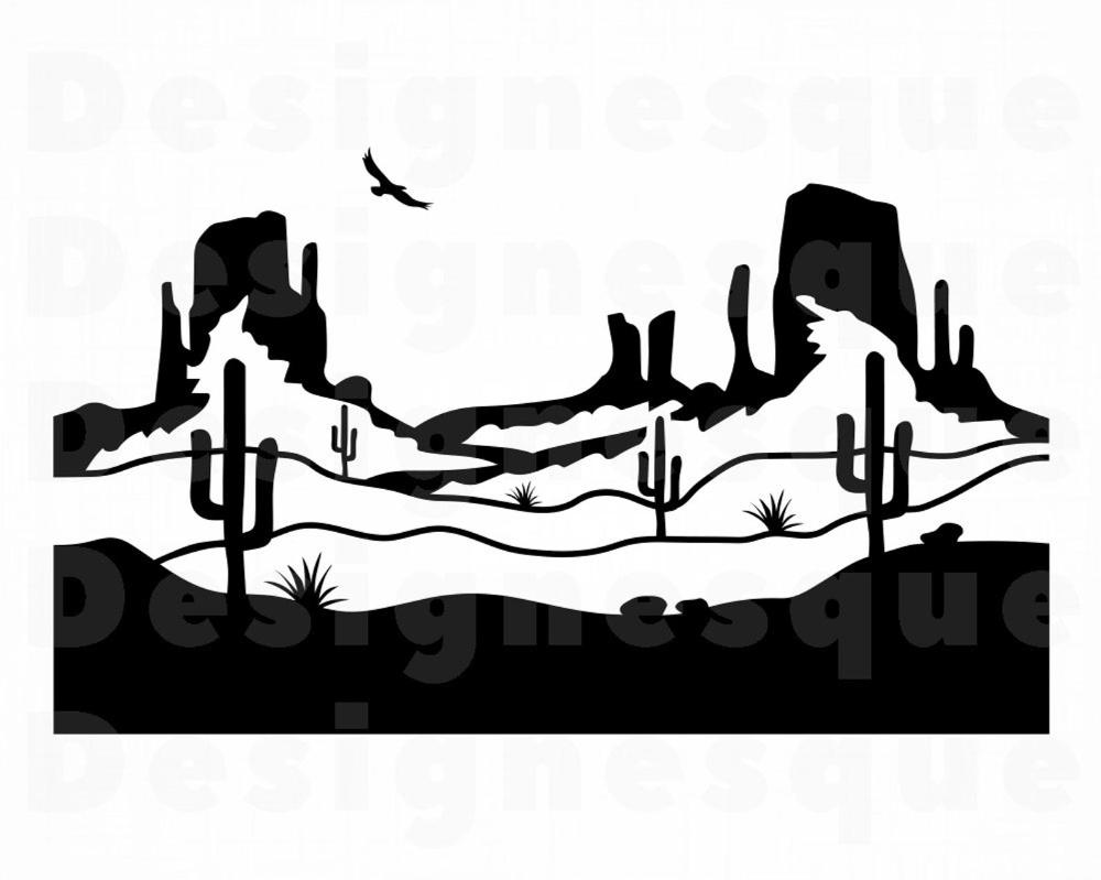 Mojave Desert 3 Svg Western Desert Landscape Svg Arizona Etsy Western Artwork Landscape Silhouette Desert Drawing