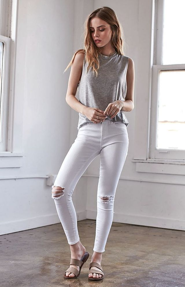 Worn White Ripped Mid Rise Skinny Jeans  b86d824ba