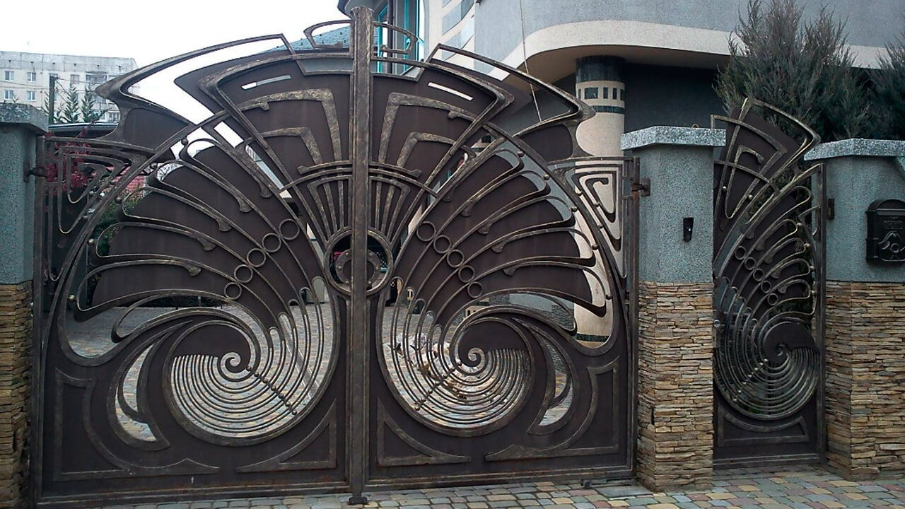 Newest wrought iron main gate designs for home made for International decor main gates
