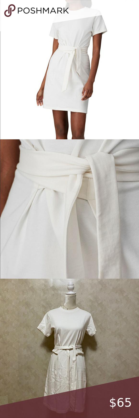 Vince White Short Sleeve Tie Waist Mini Dress S Mini Dress White Shorts Vince Dress [ 1740 x 580 Pixel ]