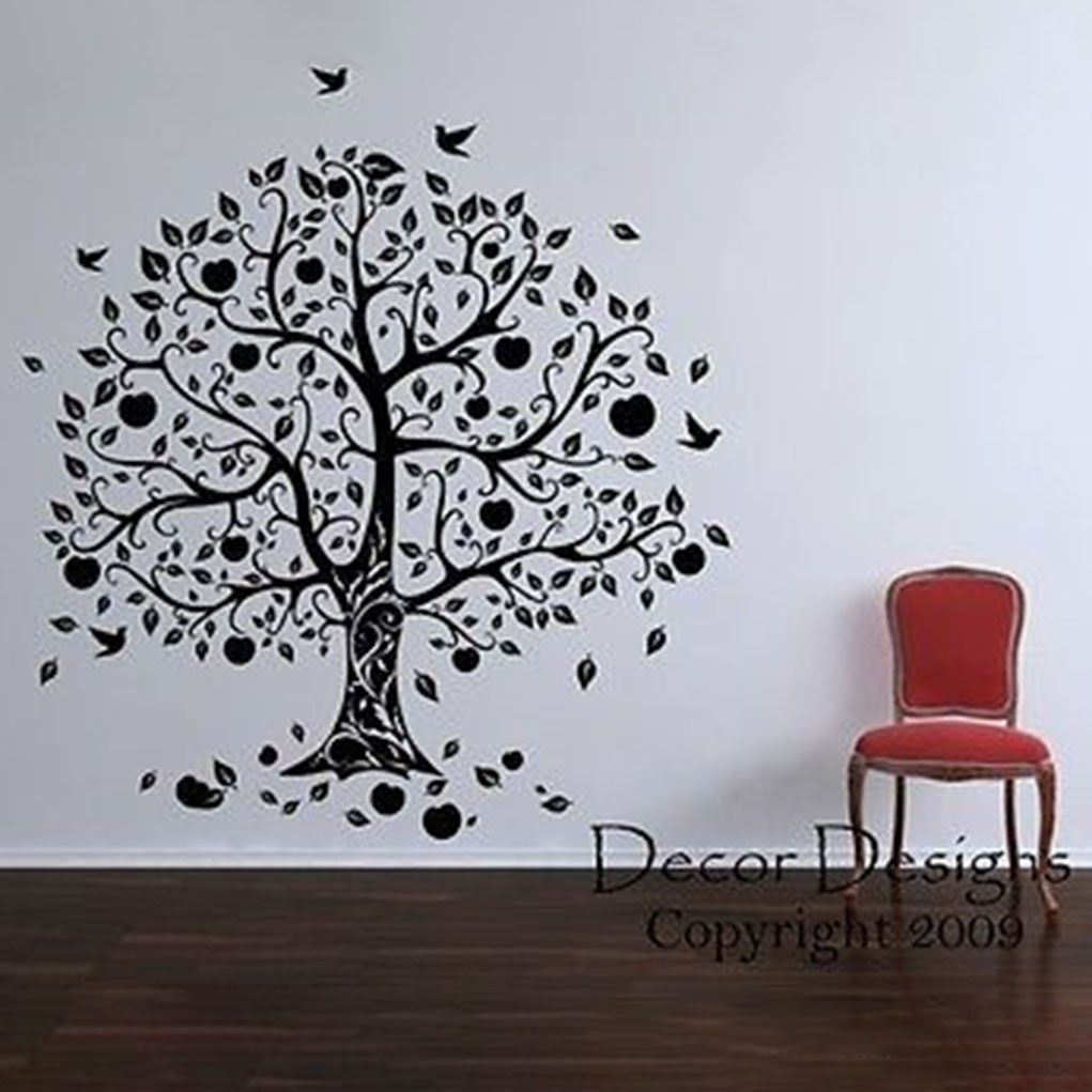 Gorgeous apple and birds tree vinyl wall decal sticker for Apple tree mural