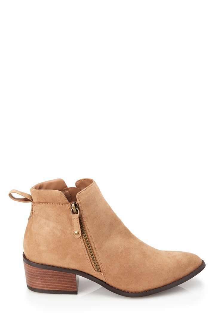 Faux Suede Zippered Booties #Boots