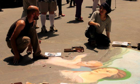 Street artists expressing themselves in the streets of Florence