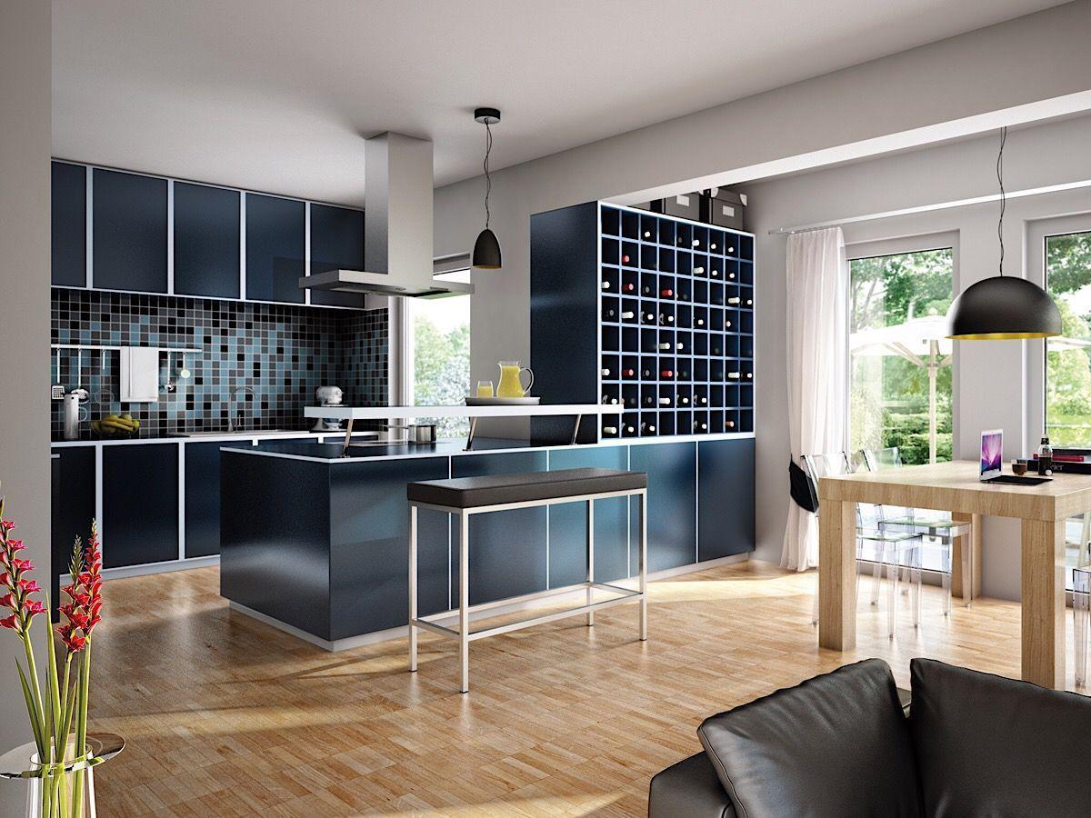 Offene Küche mit Theke & Weinregal - Küchen Ideen für Wohn ...