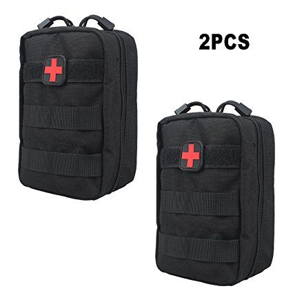 Amyipo Emt Pouch First Aid Kit Pouch Tactical Molle Medical Utility Bag Black 2 Pcs Utility Bag Bags Molle Bag