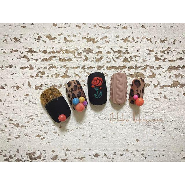 autumn🍂 MissMirage NM54.60.66.R8.34.(バラNM30.82)、マットコート Mirage N/SS.SG #nail #nails #nailart #ネイル #美甲 #ネイルアート  #clou #nagel #ongle #ongles #unghia #japanesenailart ##秋ネイル #autumnnail #レオパードネイル ##ニットネイル #knitnails #leopardnails
