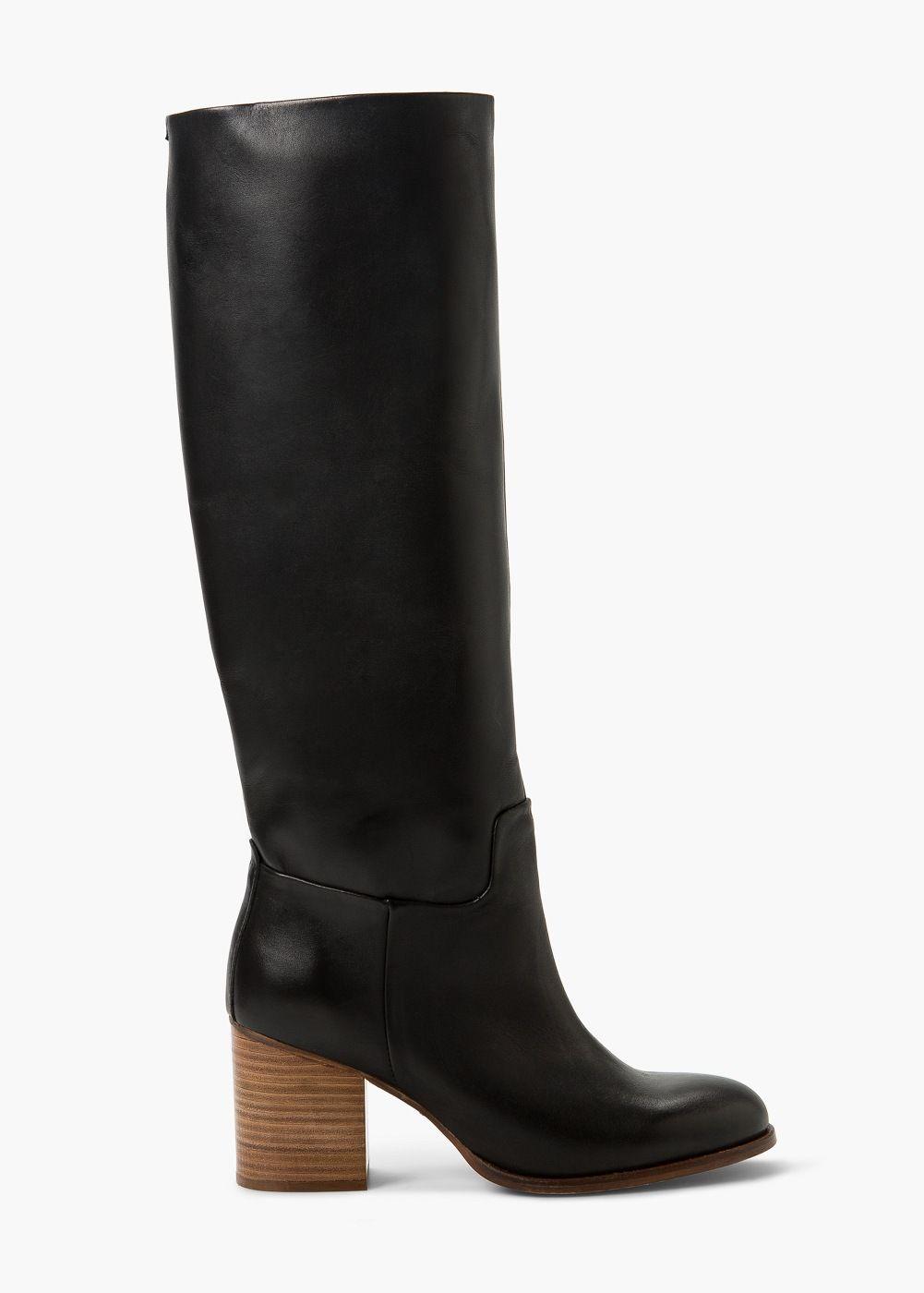 Bottes hautes cuir - Chaussures pour Femme | MANGO
