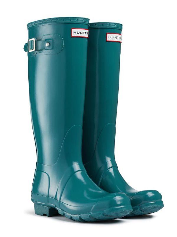 SALE Hunter Tall Wellington Boots Gloss Lagoon Green Ladies UK 6 Hunter  Wellies | eBay