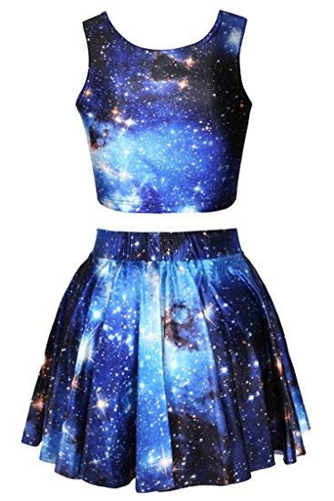 Womens Printed Crop Top Pleated Skater Rave Skirt 2 Piece Set  – ropa de galaxia