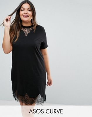 04d19a9b2f ASOS CURVE T-Shirt Dress with Lace Inserts